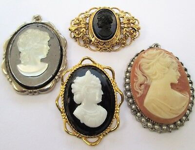 Two good vintage cameo brooches + 2 pendants