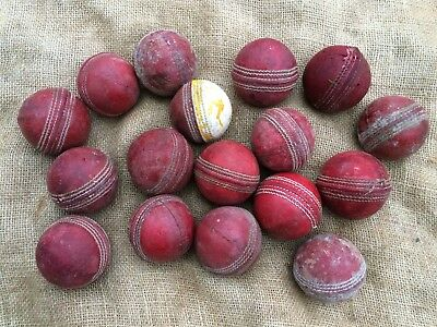Collection Of 17 Used Vintage Red Leather Stitched Cricket Balls