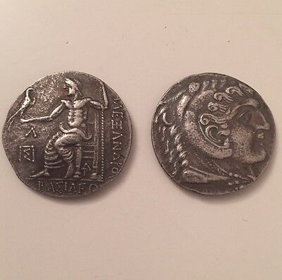 Ancient Greek Facsimile Coin Herakles Zeus Alexander Great Tetradrachm Museum