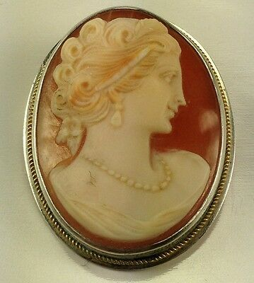 Vtg Victorian Sterling Silver Lady With Pearls  Shell Cameo 925 High Relief