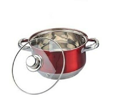Royal Cuisine Red 24CM Stainless Steel Induction Stock Pot with Vented Glass Lid