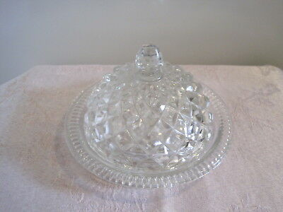 Vintage glass dome lidded round butter dish