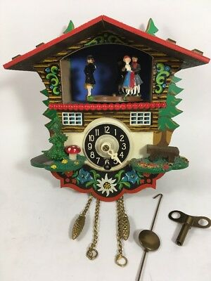 """Mini Cuckoo Clock with Dancing People Made in Germany 6"""""""