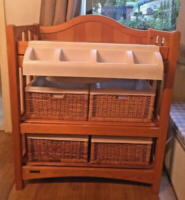 Mamas & Papas solid wood changing table with wicker baskets and storage tray