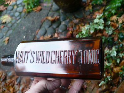 Western bitters type bottle WAITS WILD CHERRY TONIC THE GREAT TONIC square amber