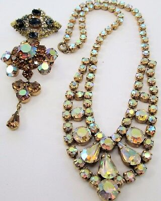 Good vintage gold metal & a.b crystal necklace + Czech sapphire paste brooch + 1