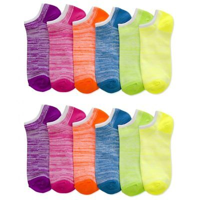 Lot Of 12 Women's Ladies No Show Neon Ankle Socks Multi Color Fashion Size 9-11