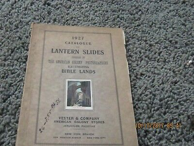 1927 CATALOG OF LANTERN SLIDES ILLUSTRATING BIBLE LANDS w/price list, supplement