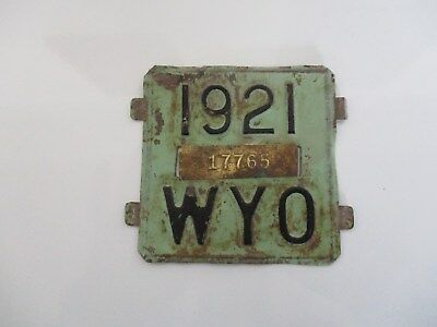 Wyoming 1921 license plate