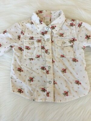 Janie And Jack Baby Girl Corduroy Button Up Shirt 12-18 Months Floral White