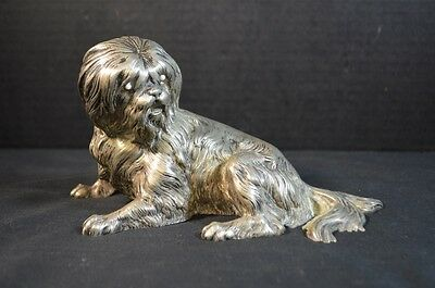 Antique White Bronze Dog Sculpture