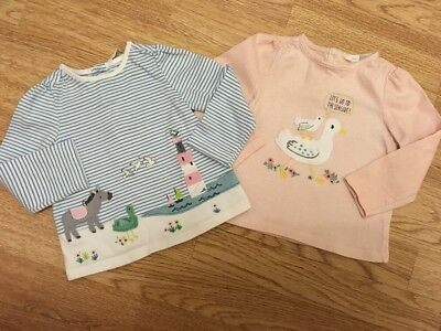 John Lewis Baby Girls Duck & Donkey Long Sleeved Tops 9-12 Months Vgc
