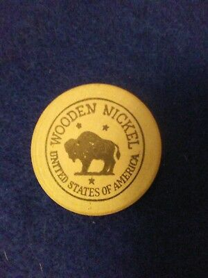 VINTAGE WOODEN NICKEL FROM 1950s  AMARILLO, TEXAS FOR A FREE WHEEL BALANCE