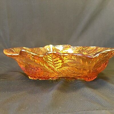 INDIANA GLASS Marigold Leaf & Loganberry CARNIVAL GLASS BOWL