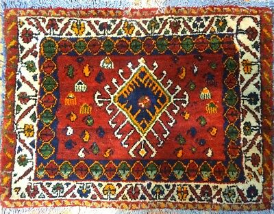 "C 1930 Shahsavan Antique Persian Exquisite Hand Made Rug 1' 9"" x 2' 4"""
