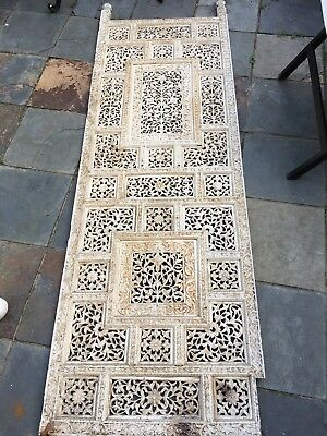 Antique wooden two pane vintage painted fretwork carved screen room divider