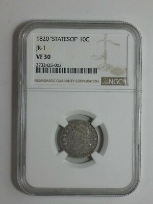 1820 Bust Dime - JR-1 STATESOF - NGC Certified VF 30