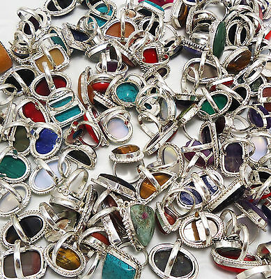 Sale ! 1000Gram Ring Mix Gemstone Wholesale Gorgeous 925 Sterling Silver Overlay