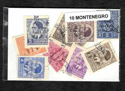 Montenegro 10 timbres différents