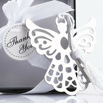 Stainless Steel  Silver Guardian ANGEL Bookmark Tassel Page Marker Ribbon Box MW