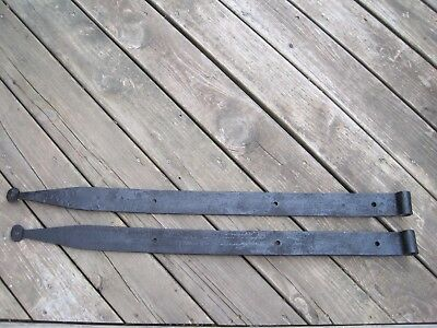 Large Antique Hand Forged Iron Strap Hinges Barn Door Farm Gate Stable