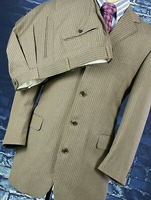 Eye Catching VERSINI Brown Pinstripe Power Suit - 42 R - Perfect Condition