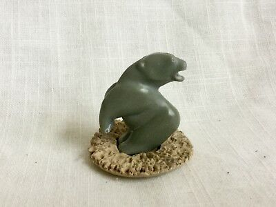 Old Miniature Inuit Eskimo Soapstone Carving Standing Bear
