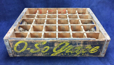 Vintage 1947 O-SO GRAPE SODA CRATE Wood Pop Case Caddy NICE ADVERTISING Dividers