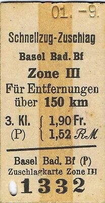 Railway tickets Germany Basel-Bad third class zones Reichmark fare well used