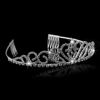 Silver Wedding Bridal Crystal Headband Crown Comb Tiara Prom Pageant Rhinestone