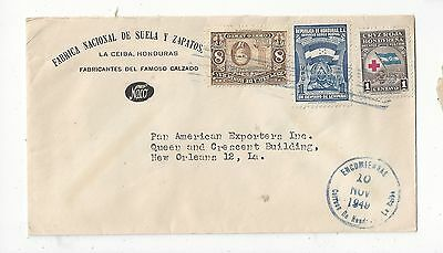 Honduras 1949 Cover to US, Attractive Stamps, Shoe Ad