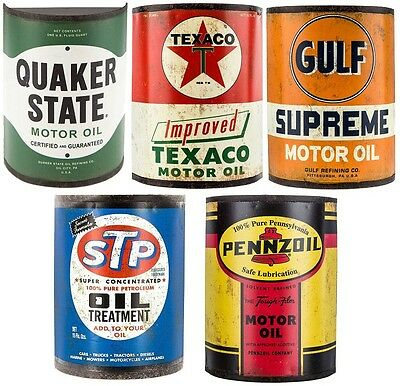Vintage Style Oil Can Collector Set of 5 Cans Wall Mount Type