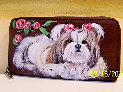 Hand painted Shih Tzu genuine leather Dopp check book wallet