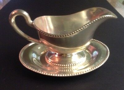 Rogers 1881 Silver Plated Gravy Boat W/ Tray B.m.m.t.s.