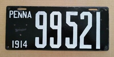 Pennsylvania Porcelain Automobile License Plate,1914