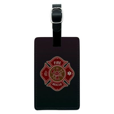 Firefighter Fire Rescue Maltese Cross Rectangle Leather Luggage Card ID Tag