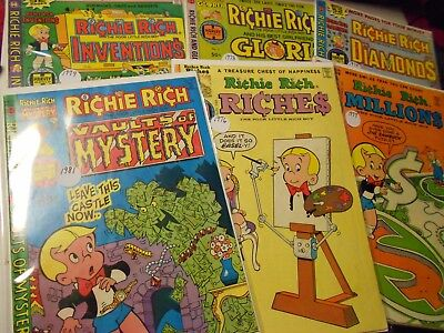 Richie Rich Collector Comic Lot-Diamonds, Inventions, Riches, Millions,Gloria+++