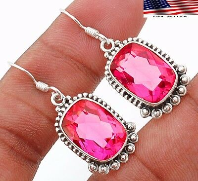 "12CT Rubellite Tourmaline 925 Solid Sterling Silver Earrings Jewelry 1 1/3"" Long"