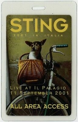 Sting authentic September 11 2001 Laminated Backstage Pass Brand New Tour Police
