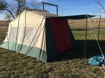 Coleman Vintage 14x10 Two Room Tent W/ Awning / Strong Aluminum Poles Good Tent & COLEMAN VINTAGE 14x10 Two Room Tent W/ Awning / Strong Aluminum ...