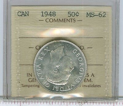 "Canadian-Coins: 50 Cents 1948,ICCS MS-62""Old holder"".Easy 63+.Est:$500"