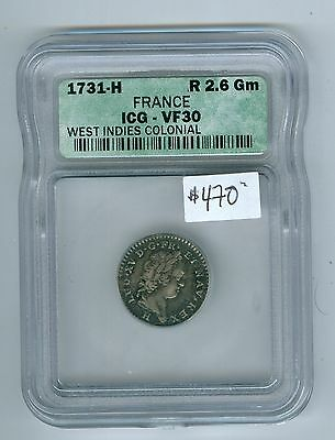 French-Colonies-Coin: Isle du Vent,12 Sols 1731-H, ICG VF-30.Est:$570