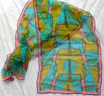 VTG Vera Sheer Scarf Verasheer Vinal & Silk  Mod pink blue yellow green
