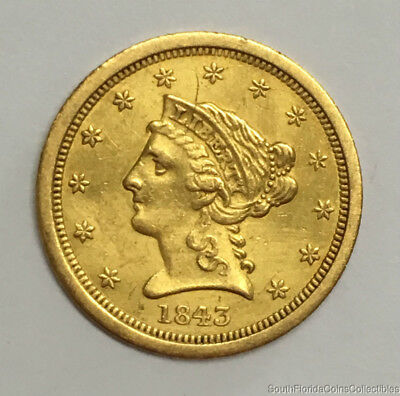 Scarce 1843-O US $2.5 Dollar Liberty Quarter Eagle Gold Coin About Uncirculated