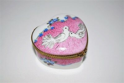 LIMOGES France ~ Heart Shaped ~ Hand Painted Trinket/Pill Box ~ Doves~