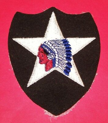 ORIGINAL CUT-EDGE FELT WW2 PATCH KING MADE 2nd INFANTRY DIVISION PATCH