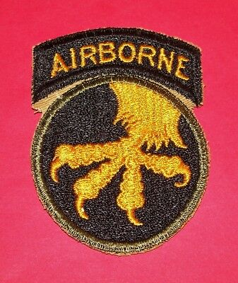 ORIGINAL CUT-EDGE WW2 17th AIRBORNE DIVISION PATCH & INTEGRAL TAB, THIN CLAWS