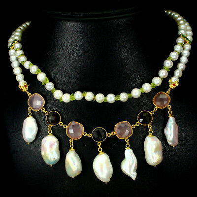 Stunning Whit Pearl Peridot Rose Quartz Gems 925 Sterling Silver Necklace 19 Ins