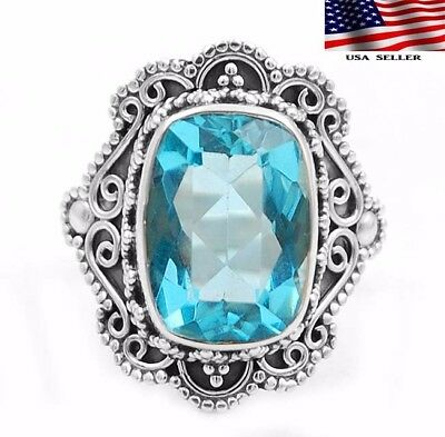 6CT Flawless Blue Topaz 925 Sterling Silver Detailed Design Ring Jewelry Sz 7