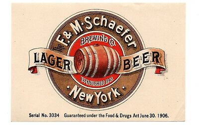 1900s F. & M. SCHAEFER BREWING CO, NEW YORK LAGER BEER PRE-PROHIBITION LABEL
